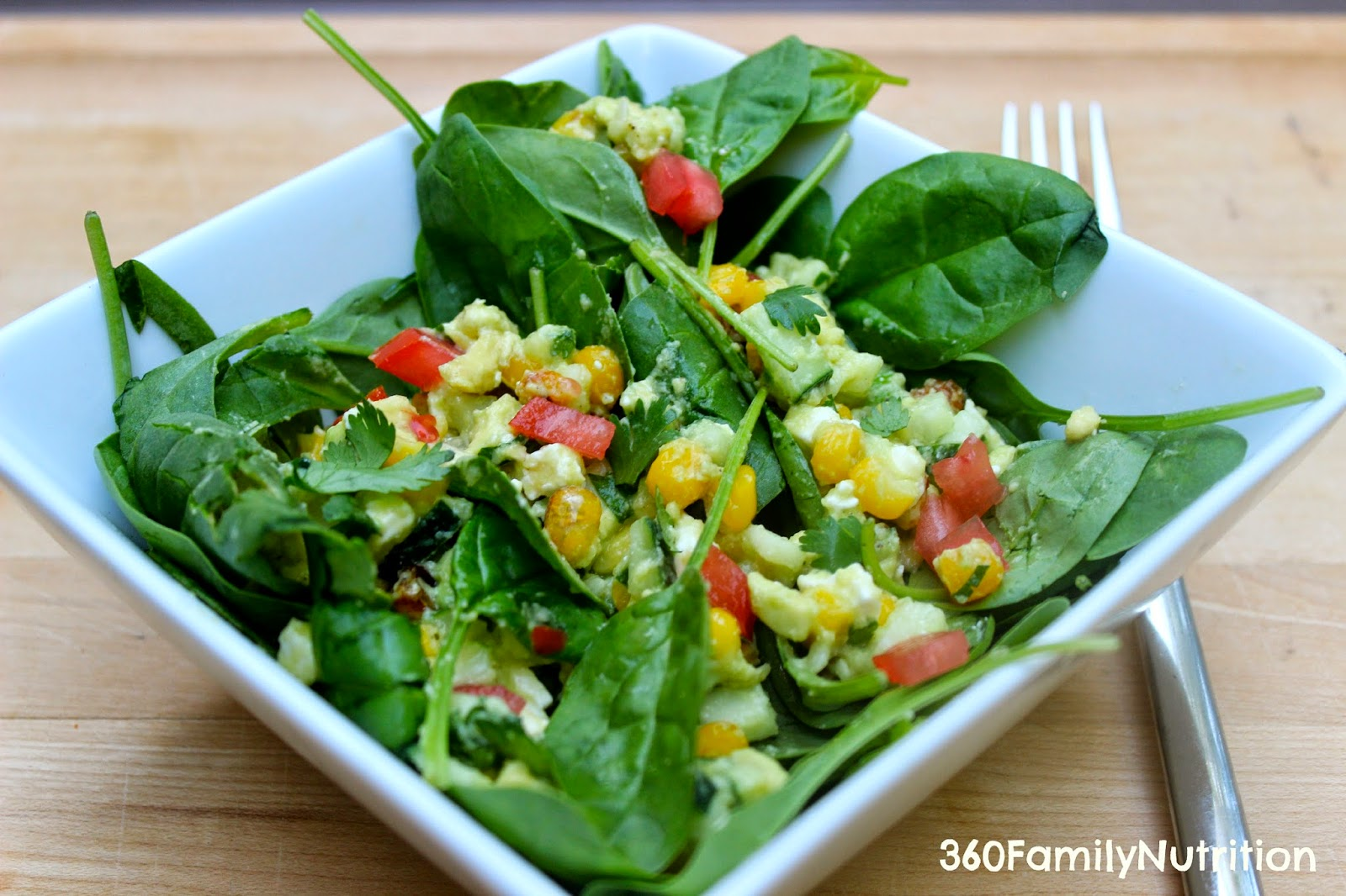 Roasted Corn Spinach Salad 360 Family Nutrition