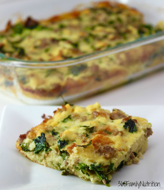 Overnight Egg Casserole with spinach and gruyere cheese