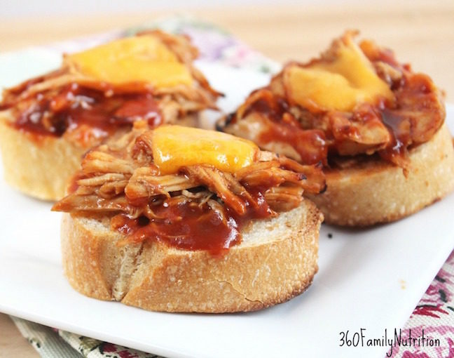 Slow Cooker Barbecue Chicken Baguette Sliders