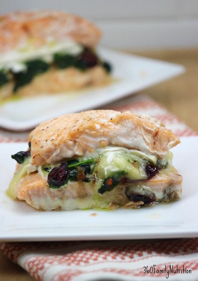 Stuffed Salmon with Cranberries and Brie