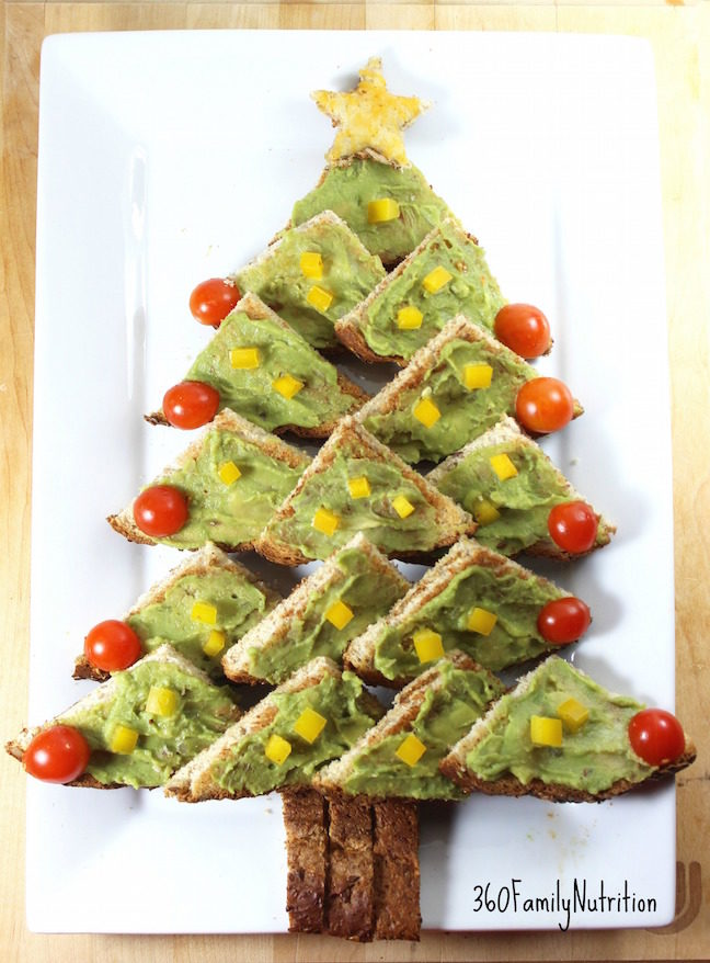Avocado Toast Christmas Tree Appetizer