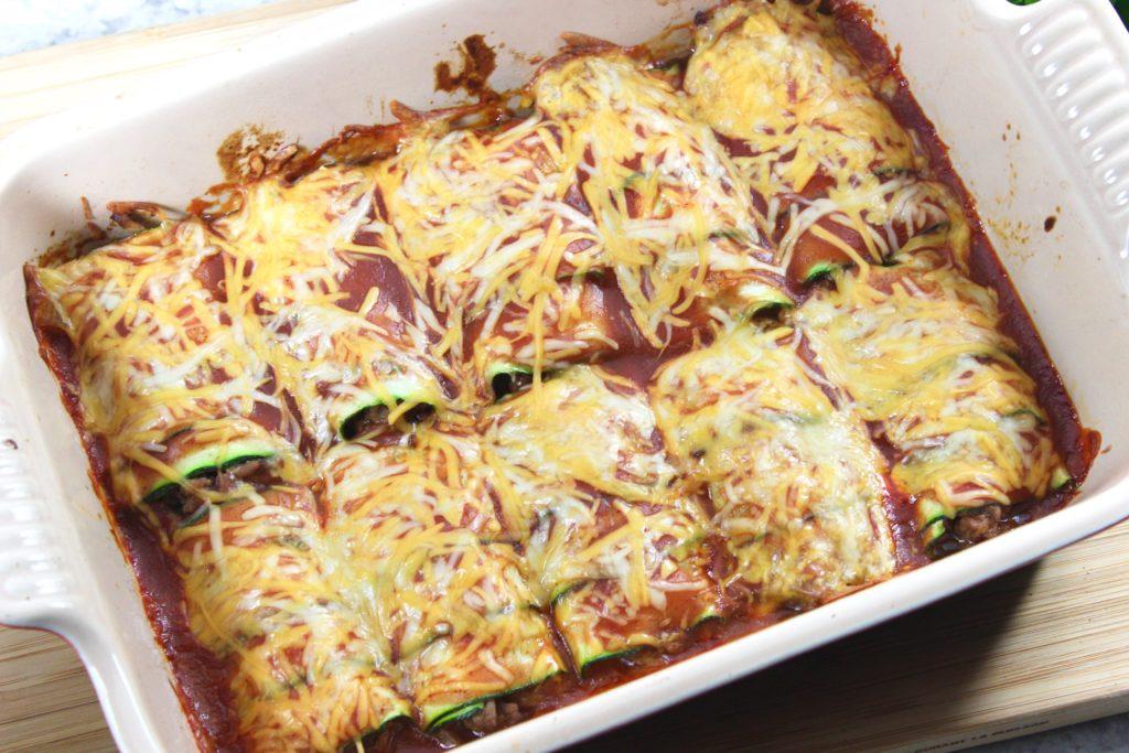 Low Carb Beef Zucchini Enchiladas